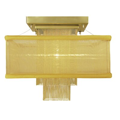 Gymnopedie 1-Light Semi Flush Mount Size: 12 x 14, Shade Color: White Sheer, Finish: Satin Brass