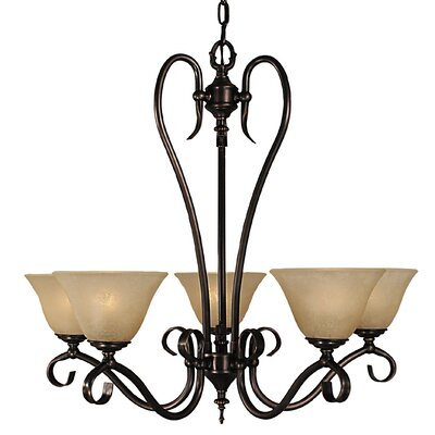 Black Forest 5-Light Shaded Chandelier Shade Color: Amber, Finish: Siena Bronze