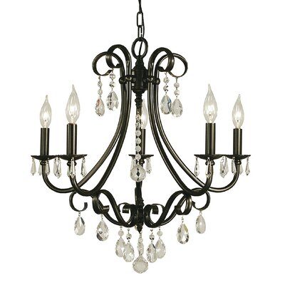Liebestraum 5-Light Crystal Chandelier Finish: Matte Black