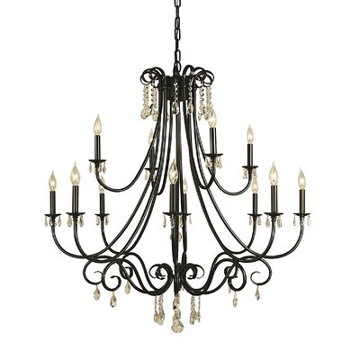 Liebestraum 12-Light Candle-Style Chandelier Finish: Matte Black