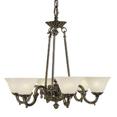 Napoleonic 6-Light Shaded Chandelier Shade color: Amber, Finish: French Brass