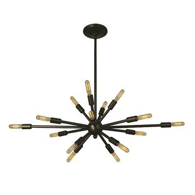 Simone 16-Light Cluster Pendant Finish: Antique Brass