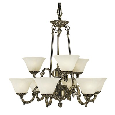 Napoleonic 9-Light Shaded Chandelier Shade color: Amber, Finish: French Brass
