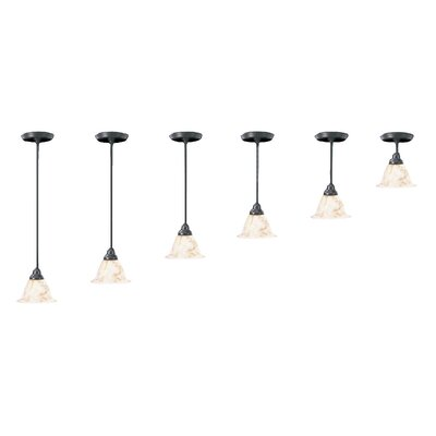Black Forest 1-Light Piastra Glass Mini Pendant Shade Color: Champagne, Finish: Mahogany Bronze