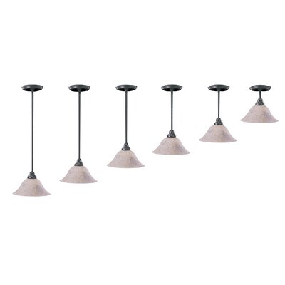 Black Forest 1-Light Marble Glass Bowl Pendant Shade Color: Amber, Finish: Satin Pewter