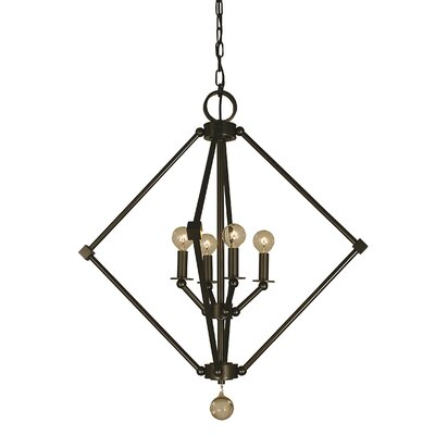 Diamond 4-Light Foyer Pendant Finish: Brushed Nickel, Size: 17 H x 15 W x 15 D