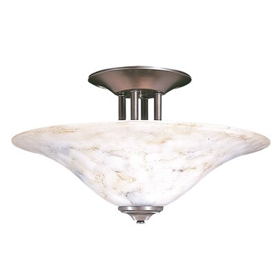 Black Forest 3-Light Semi Flush Mount Finish: Satin Pewter, Shade Color: Champagne