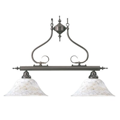 Black Forest 2-Light Kitchen Island Pendant Finish: Satin Pewter, Shade Color: Amber