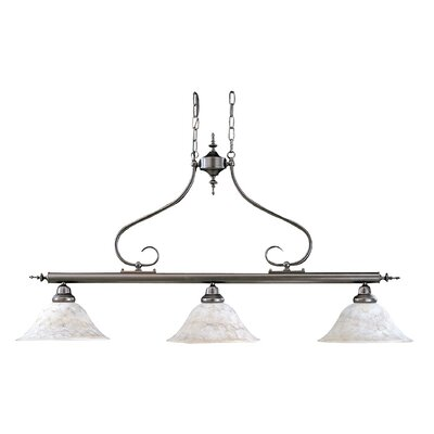 Black Forest 3-Light Kitchen Island Pendant Finish: Antique Brass, Shade Color: Champagne