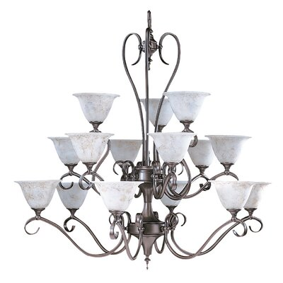 Black Forest 15-Light Shaded Chandelier Finish: Mahogany Bronze, Shade Color: White
