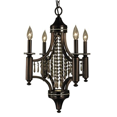 Princessa 4-Light Crystal Chandelier Finish: Satin Pewter and Polished Nickel, Crystal Color: Teak