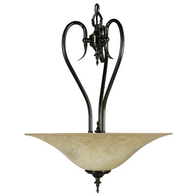 Black Forest 3-Light Marble Glass Inverted Pendant Shade Color: Amber, Finish: Matte Black