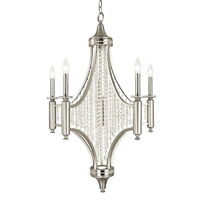 Princessa 5-Light Crystal Chandelier Finish: Pewter / Polished Nickel / Teak Crystal
