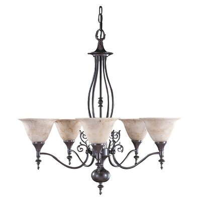 Black Forest 5-Light Shaded Chandelier Shade Color: Amber, Finish: Harvest Bronze, Shade Material: Marble Glass