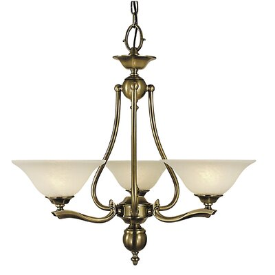 Fin De Siecle 3-Light Shaded Chandelier Shade Material: Marble Glass
