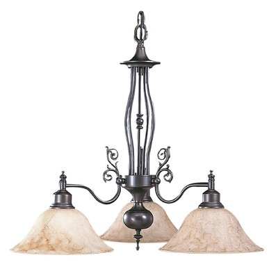 Black Forest 3-Light Shaded Chandelier Shade Color: Amber
