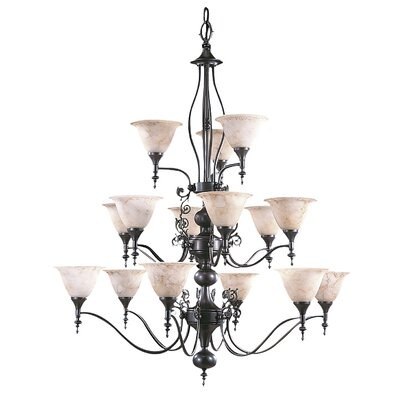 Black Forest 15-Light Shaded Chandelier