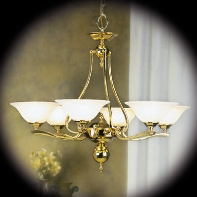 Fin De Siecle 6-Light Shaded Chandelier Finish: Polished Brass / Nuage
