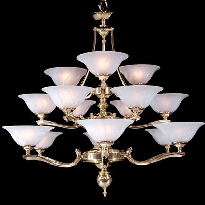 Fin De Siecle 15-Light Shaded Chandelier Finish: Satin Pewter / Nuage