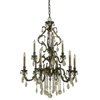 Czarina 9-Light Candle-Style Chandelier Finish: Antique Silver