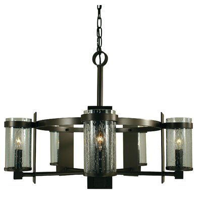 Hammersmith 5-Light Candle-Style Chandelier Color: Antique Brass, Shade Color: Frosted