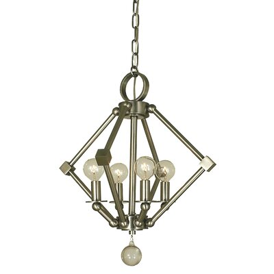 Diamond 4-Light Foyer Pendant Finish: Polished Nickel, Size: 17 H x 15 W x 15 D