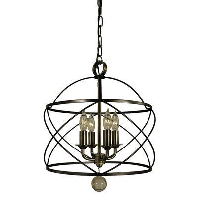 Nantucket 4-Light Foyer Pendant Color: Mahogany Bronze/Polished Nickel