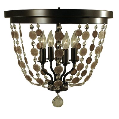 Naomi 4-Light Flush Mount Finish: Antique Brass