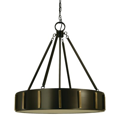 Pantheon 4-Light Drum Pendant Color: Mahogany Bronze / Antique Brass, Size: 25 H x 23 W x 23 D