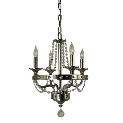 Isolde 4-Light Crystal Chandelier Finish: Polished Nickel