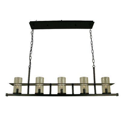 Hammersmith 5-Light Kitchen Island Pendant Shade Color: Clear, Finish: Mahogany Bronze