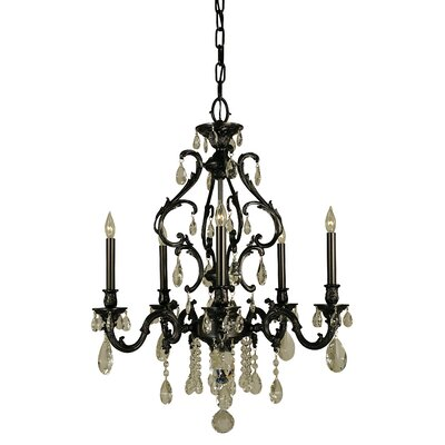 Czarina 5-Light Candle-Style Chandelier Finish: Antique Silver