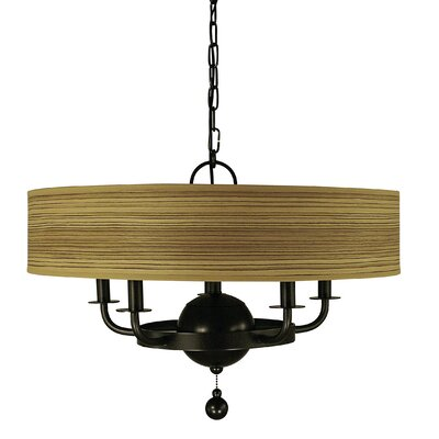 Meridian 5-Light Drum Chandelier Finish: Antique Brass