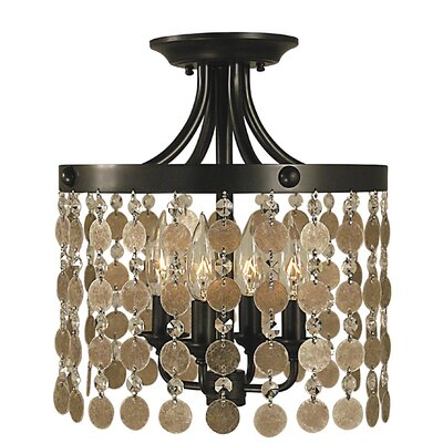 Naomi 4-Light Semi Flush Mount Color: Antique Brass