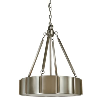Pantheon 4-Light Drum Pendant Finish: Matte Black / Polished Nickel, Size: 20 H x 16 W x 16 D