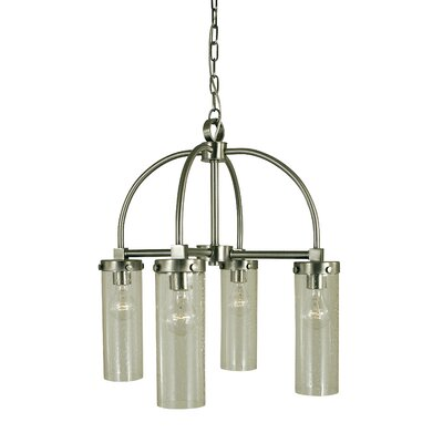 Hammersmith 4-Light Shaded Chandelier Finish: Antique Brass, Shade Color: Clear