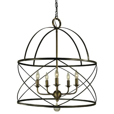 Nantucket 5-Light Foyer Pendant Finish: Mahogany Bronze/Antique Brass