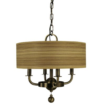 Meridian 4-Light Drum Chandelier Finish: Antique Brass