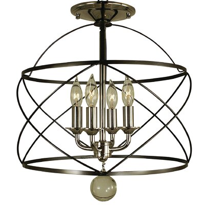 Nantucket 4-Light Semi Flush Mount Finish: Mahogany Bronze / Polished Nickel