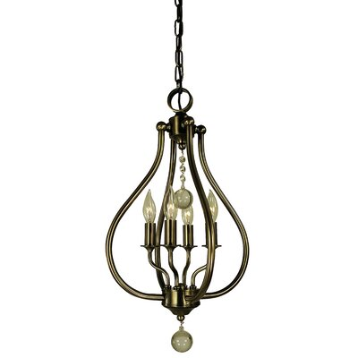 Dewdrop 4-Light Mini Pendant Color: Antique Brass