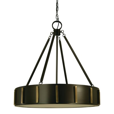 Pantheon 4-Light Pendant Color: Mahogany Bronze / Antique Brass, Size: 12 H x 23 W x 23 D