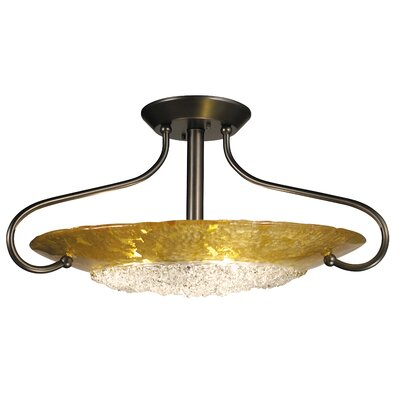 Pleiades 3-Light Semi Flush Mount Color: Mahogany Bronze / Gold Leaf