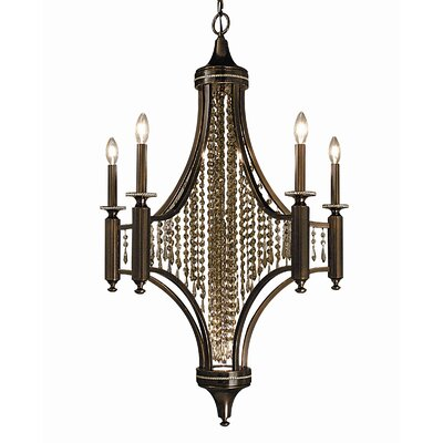 Princessa 5-Light Crystal Chandelier Finish: Siena Bronze / Ebony / Clear Crystal