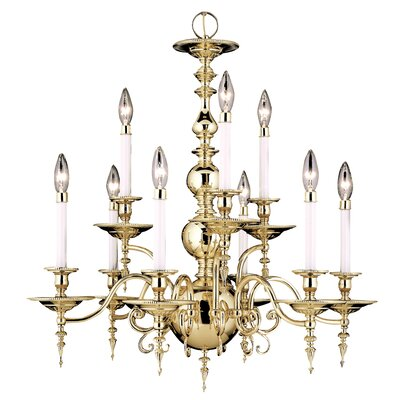 Kensington 9-Light Candle-Style Chandelier Finish: Polished Brass