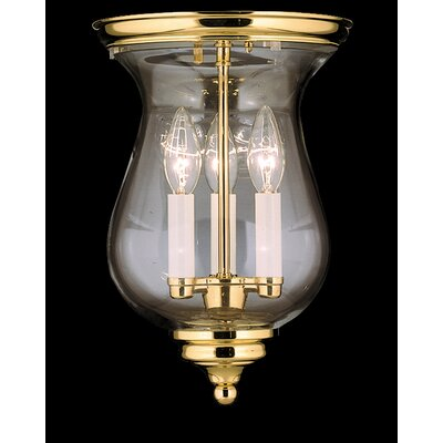 Independence Hall 13 3-Light Flush Mount Color: Polished Brass