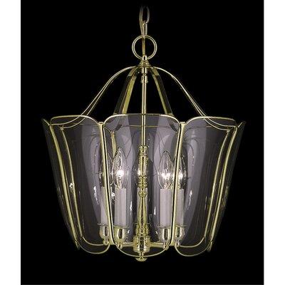 Yorkshire 5-Light Candle-Style Chandelier Size: 15 x 14, Finish: Polished Brass