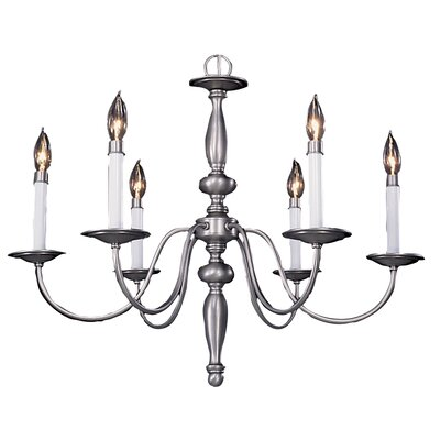 Early American 6-Light Candle-Style Chandelier Color: Satin Pewter