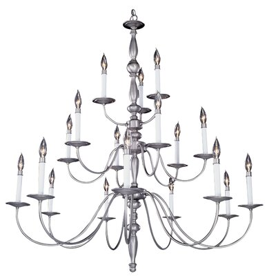 Early American 18-Light Candle-Style Chandelier Color: Satin Pewter