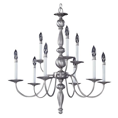 Early American 9-Light Candle-Style Chandelier Finish: Satin Pewter