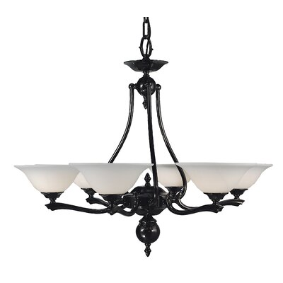 Fin De Siecle 6-Light Shaded Chandelier Finish: Satin Pewter / Nuage
